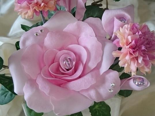 カルトナ―ジュ花器スワロ付入手不可の石鹸の香りのパフュームフラワーの画像