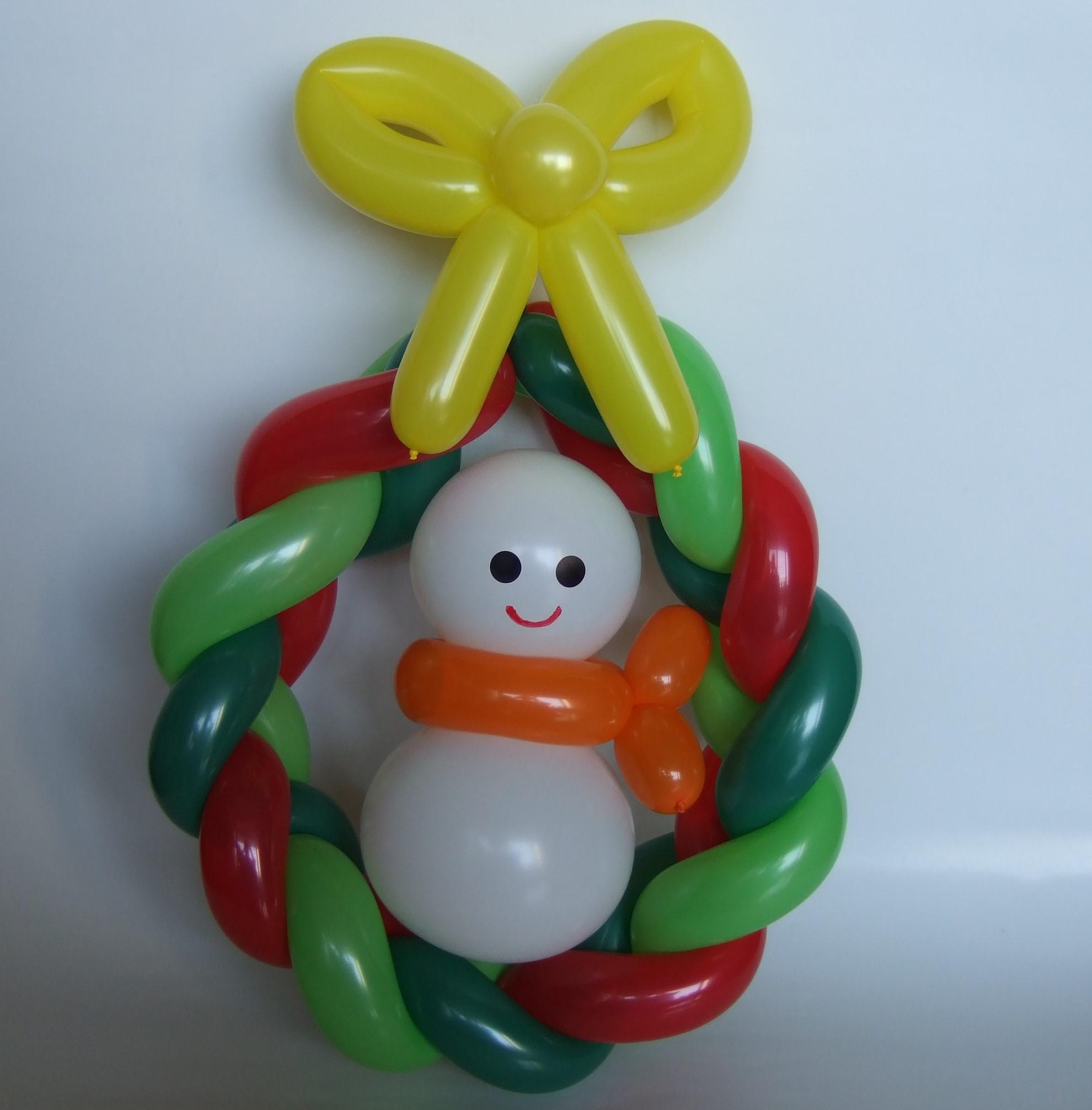 バルーンアート教室 東京 クリスマスリース&雪だるま 簡単作り方