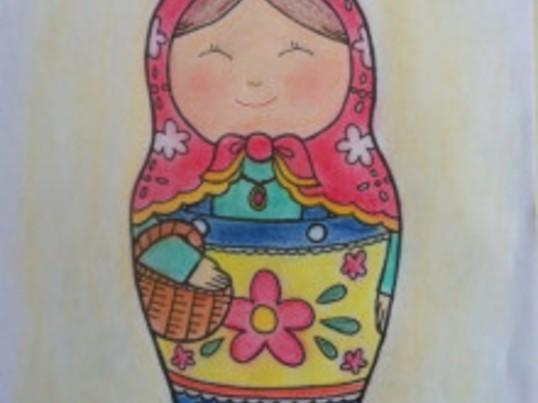マトリョーシカ塗り絵セラピーの画像