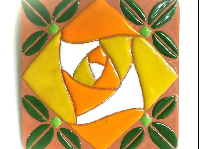 スペイン陶芸絵付け☆で薔薇のコースターを作ってみよう!の画像