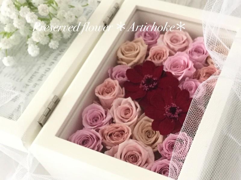 結婚式に両親へ贈るギフト♡お花の写真たて(プリザーブドフラワー)の画像
