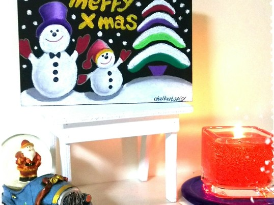チョークアートで世界に一枚だけのクリスマスカードを描こう!の画像