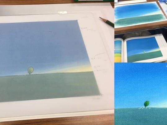 パステルシャインアートで描く葉祥明①「羊と草原」*中目黒*の画像
