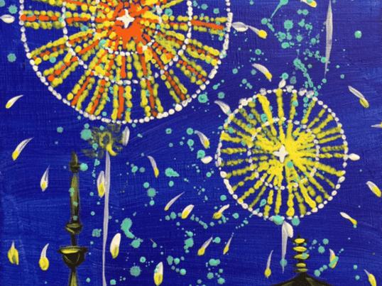 新感覚アートレッスン!サブリナ先生と作るアクリル絵画 夜空の花火!の画像