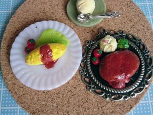 6分の1ミニチュア粘土のオムライス、ハンバーグ、アイスクリームの画像