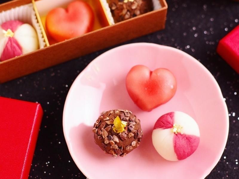 バレンタインのおめかし和菓子3種(ラッピング付き)の画像