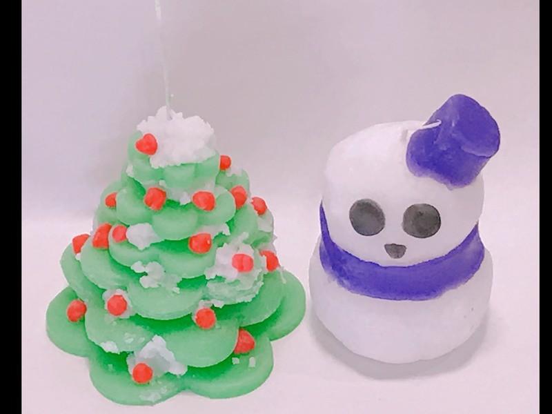 【キャンドルクラフト】ツリー&雪だるまキャンドルの画像