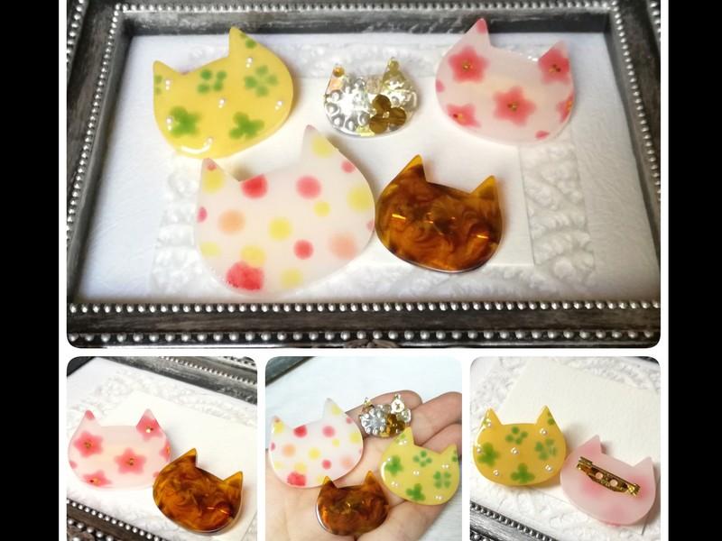 ワクワク×楽々!手描き絵レジンアクセサリー♡猫ブローチの画像