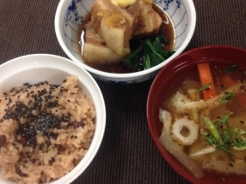 和食の基本 料理教室 赤飯 豚の角煮 のっぺい汁の画像