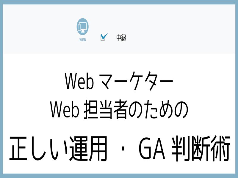 Webマーケター・Web担当者のための正しい運用・GA判断術2の画像