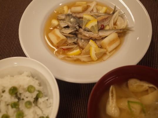 和食料理教室 小アジの南蛮漬け えんどう豆ごはん 新玉ねぎの味噌汁の画像
