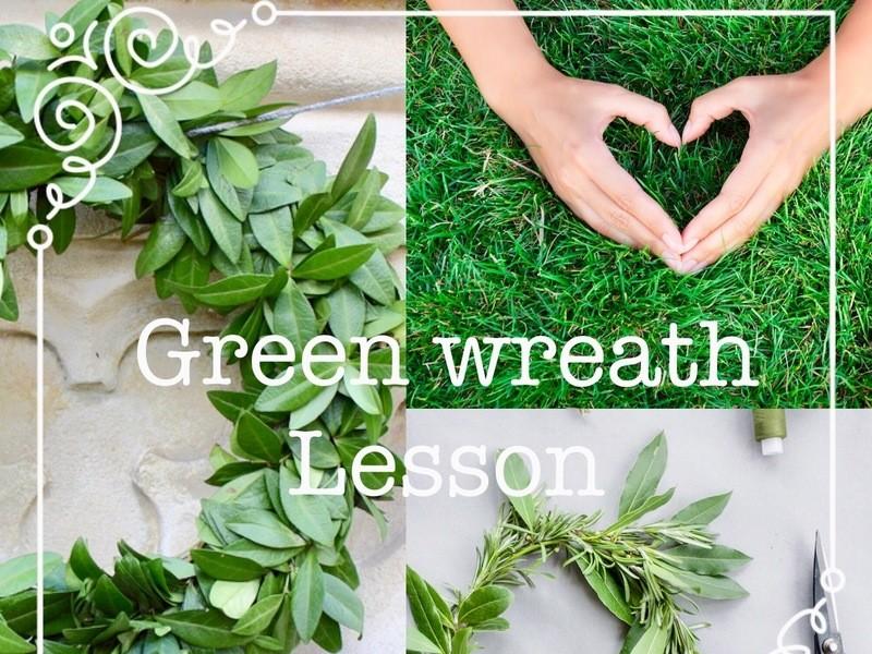 【5月限定講座】プリザーブド素材で作る☆新緑のグリーンリースの画像