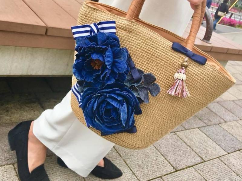 お花とリボンで飾る~フラワーカゴバッグ作りの画像