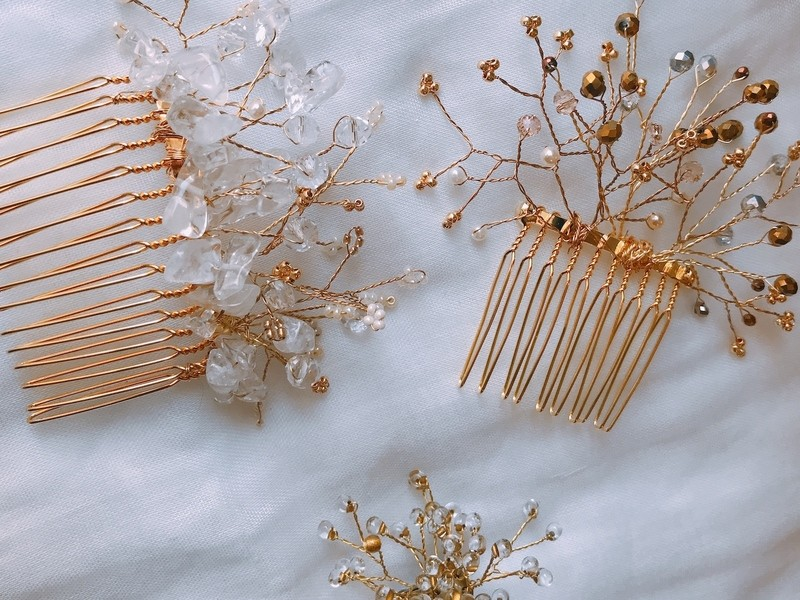 《ワイヤーワーク》ガラスビーズのウェディングパーティーヘッドドレスの画像