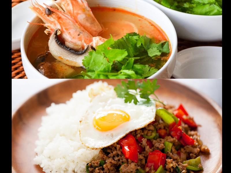 タイ料理!ペーストから手作りトムヤムクンとガパオライス!の画像