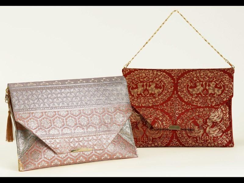 「着物リメイクバッグ」縫わずにできる袋帯のクラッチバッグの画像