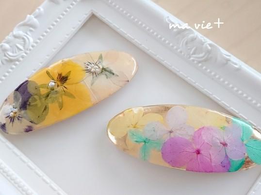 本物のお花のバレッタの画像