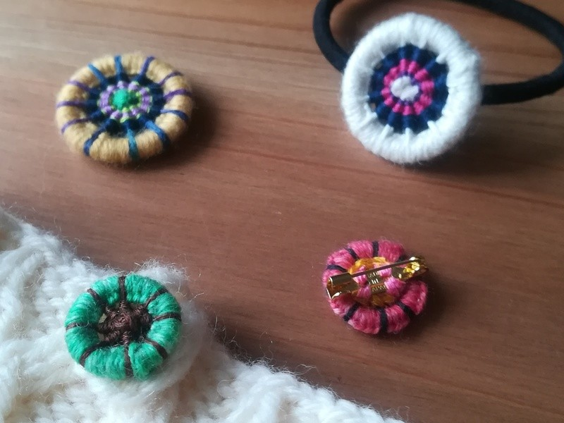 好きな糸を組み合わせて♪オリジナルドーセット/糸巻きボタンの画像