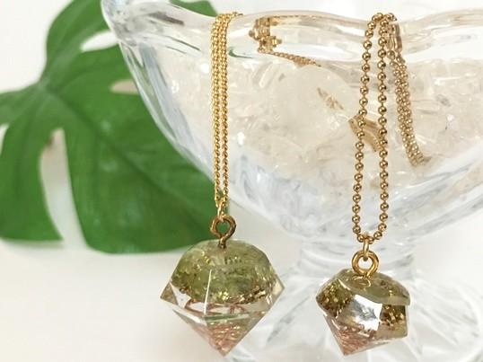 オルゴナイトで作るダイヤ型ペンダント♡の画像