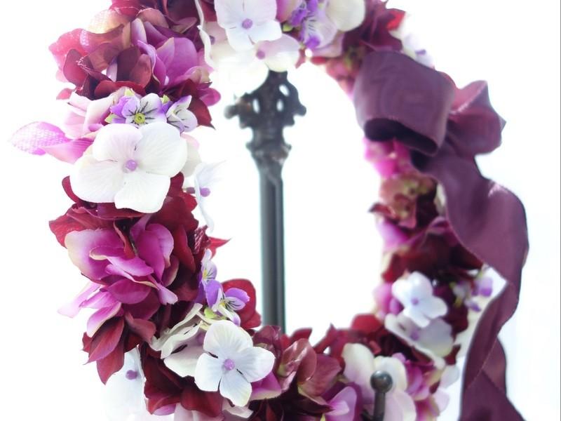 ~mauve~色とりどりの秋を込めて…紫陽花のリースの画像