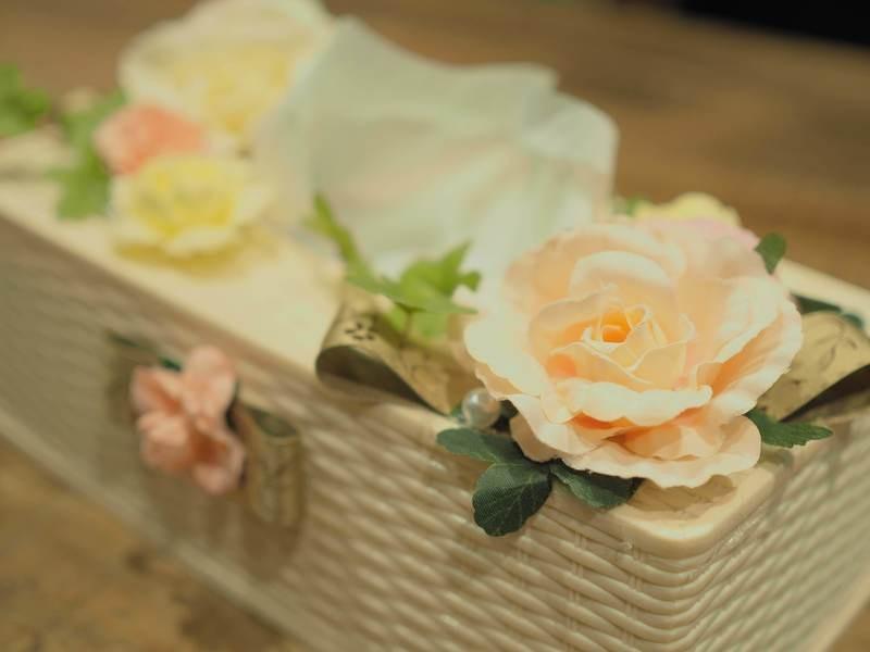 お花でいっぱいティシュボックス(アーティシャルフラワー)の画像