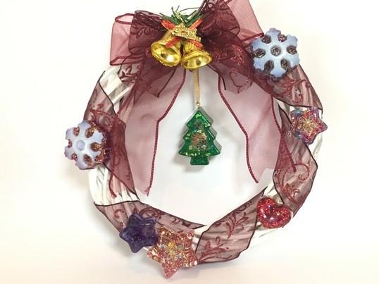 オルゴナイトで作るクリスマスリースの画像