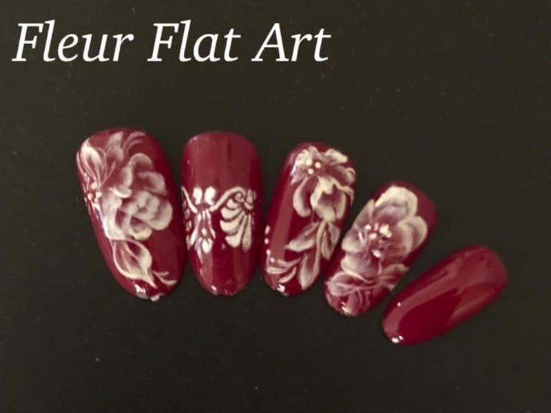 アクリル絵の具とジェルで描く薔薇のネイルアート講習の画像