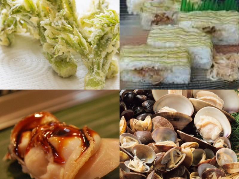 煮はまぐり寿司とあさりの佃煮で押し寿司と春野菜天ぷらの画像