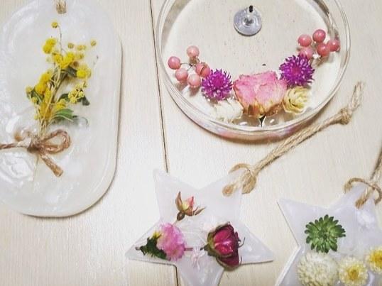 フラワーゼリーキャンドル&アロマワックスバーレッスンの画像