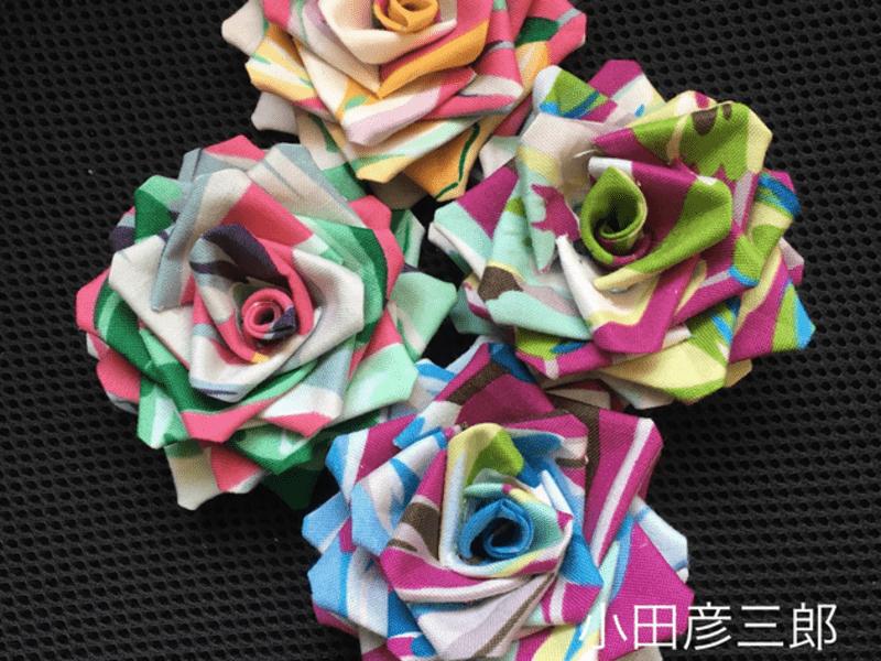 つまみ細工「庚申薔薇」を作るの画像