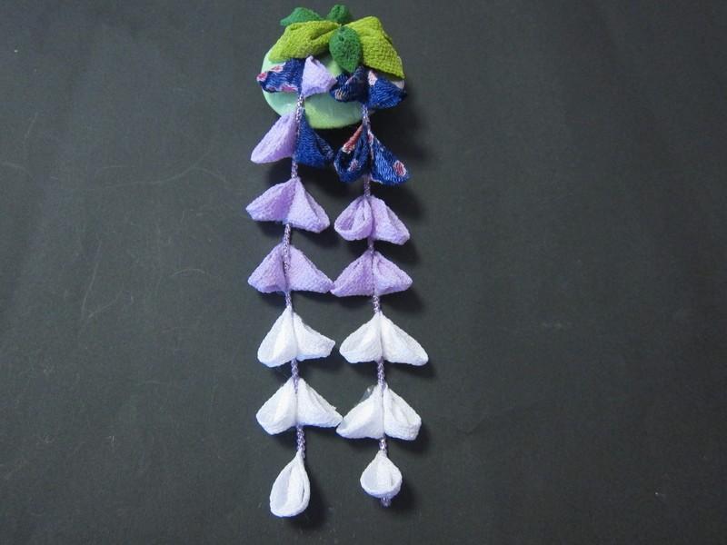 藤の花のかんざしを作りましょう(ボンドつまみ細工)の画像