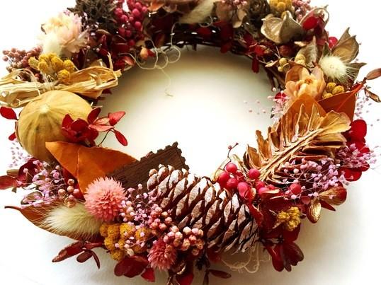 世界にたった一つの秋色ギフトオータムリースの画像