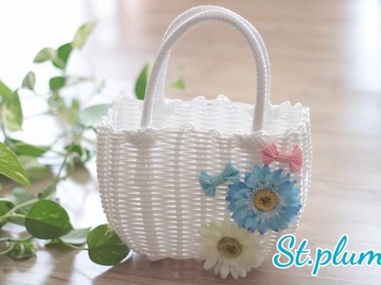 【夏季限定】お花とリボンのかごバッグの画像
