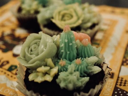 【初級】食べられるサボテン?多肉植物バタークリームケーキの画像