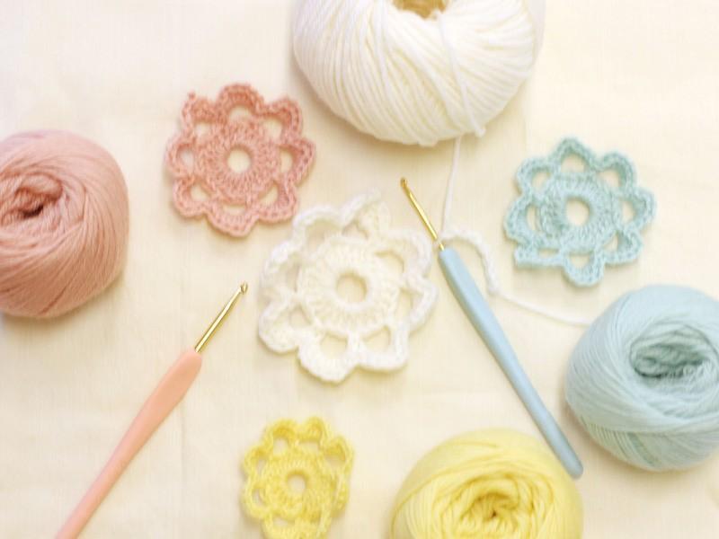 はじめてのかぎ針編み~お花モチーフ【@中目黒FLATMATE】の画像