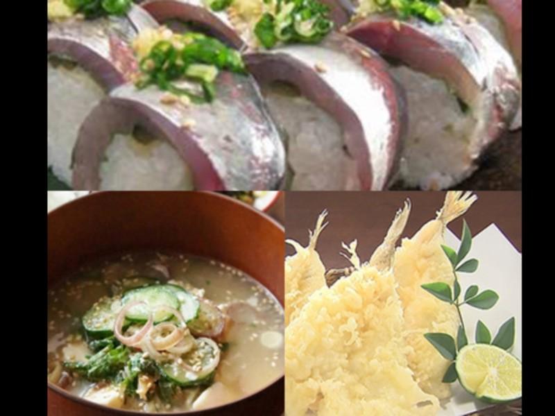 夏限定!旬魚 キスと鯵寿司の画像