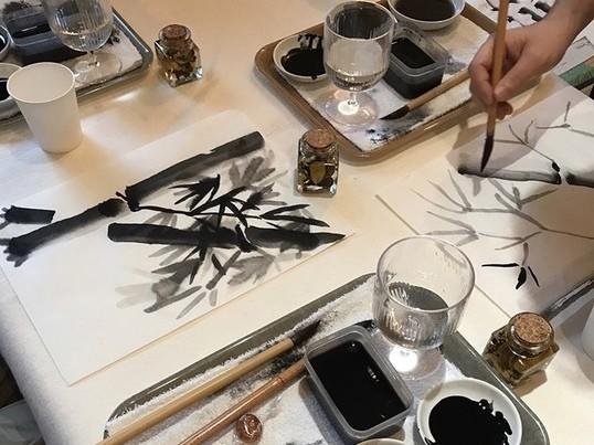 SUMI-E『〜オリジナル水墨画手ぬぐいを作ろう〜』の画像