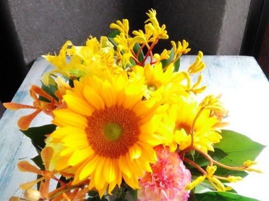 英語でフラワーアレンジ♪体験レッスン《真夏の花束》の画像
