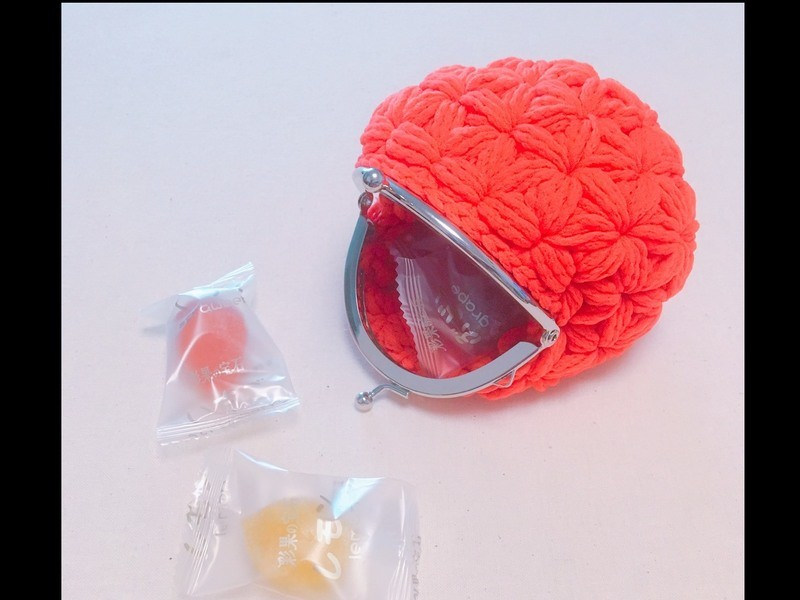 リフ編みがま口ポーチ作りの画像