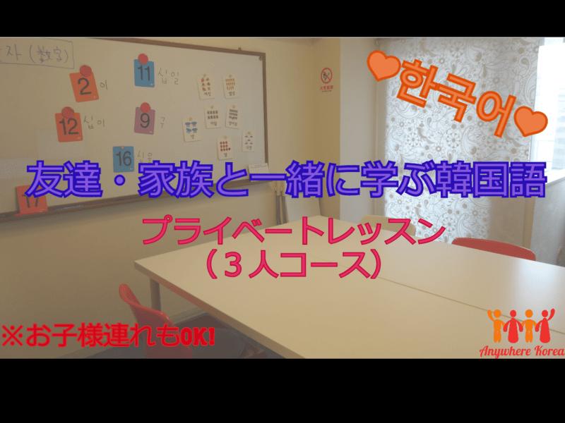 友達・家族と一緒に韓国語を学ぼう☆プライベートレッスン(3人)の画像