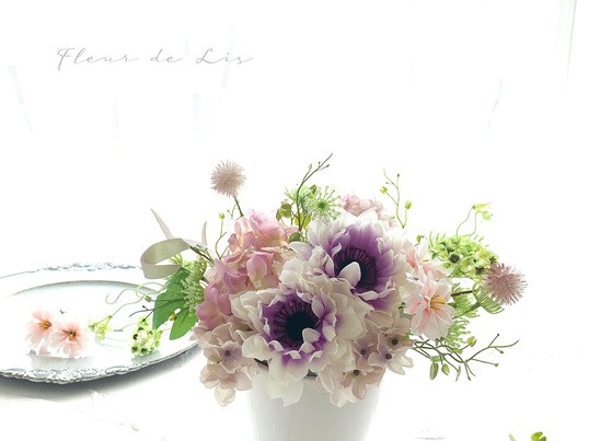 アーティフィシャルフラワーでつくる仏花アレンジメントの画像