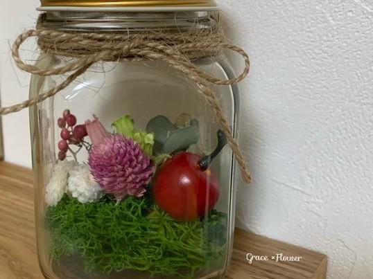 瓶の中の小さなお花畑の画像