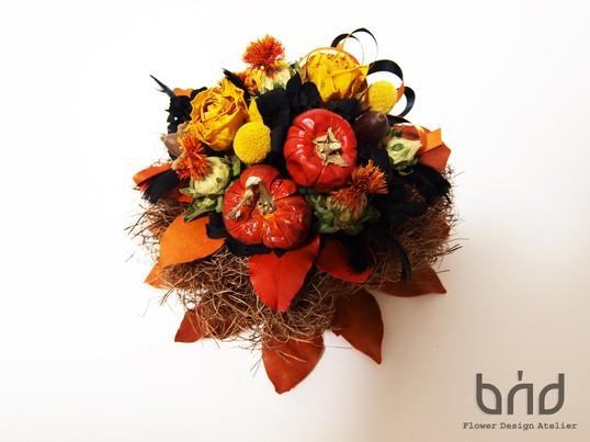 BUDレッスンブラック×オレンジ ハッピーハロウィンアレンジメントの画像
