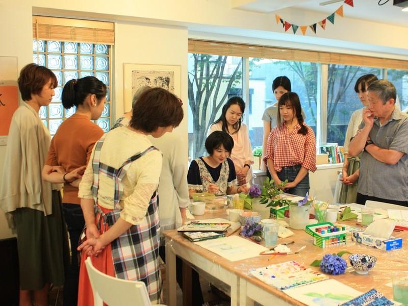 カフェで習う透明水彩画の画像