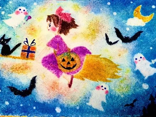 ハロウィンパステルアートと簡単な落書きから隠れたキモチを知る教室の画像