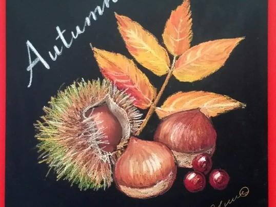 秋の実りをチョークアートで描いてみよう!の画像