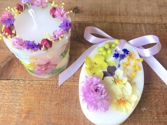 お花たっぷりのボタニカルキャンドル&アロマワックスサシェ作りの画像