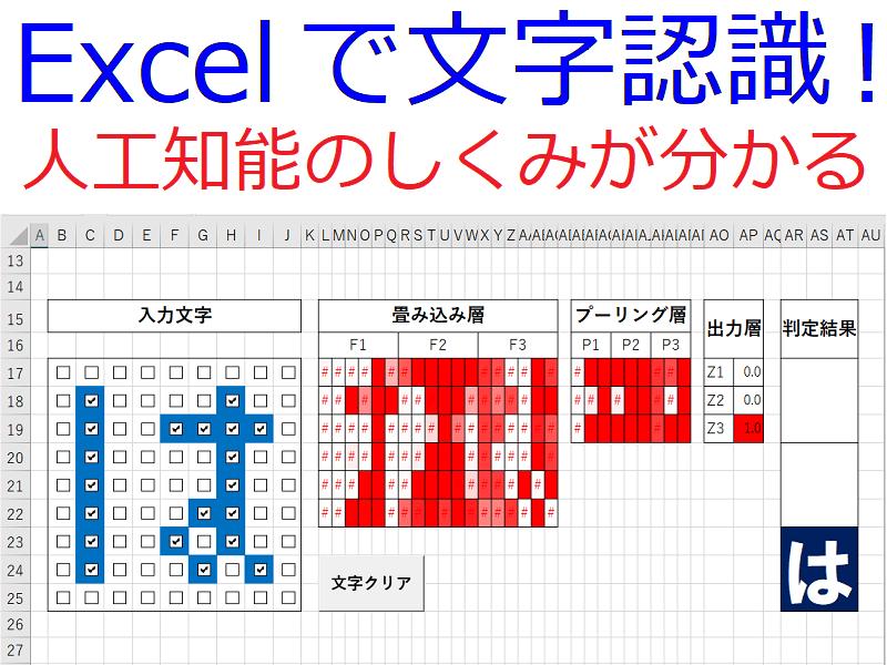 """Excel で手書き文字認識に挑戦! 人工知能の""""しくみ""""が分かるの画像"""
