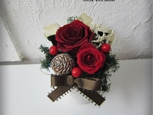 プリザーブドフラワーでクリスマス☆ミニアレンジワークショップの画像