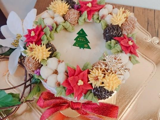 特別レッスン あんフラワーでクリスマスリースケーキ の画像